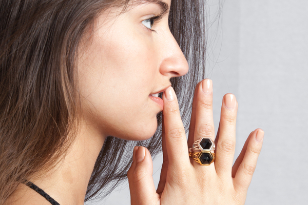 Shahla Karimi Hex Set Ring with Onyx
