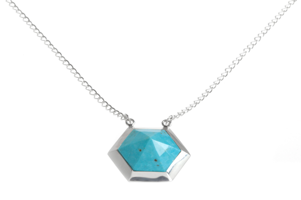 Shahla Karimi Hex Set Pendant Chain Necklace with Turquoise