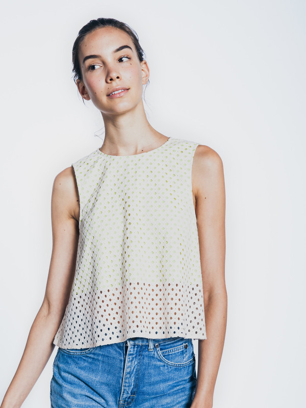 LAYLA RACY FLARED EYELET TOP