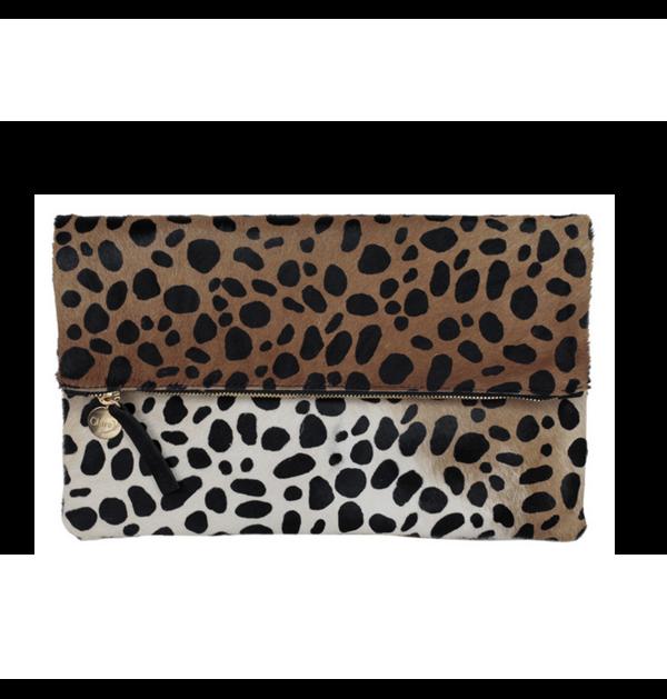 Clare V. Leopard Foldover Clutch