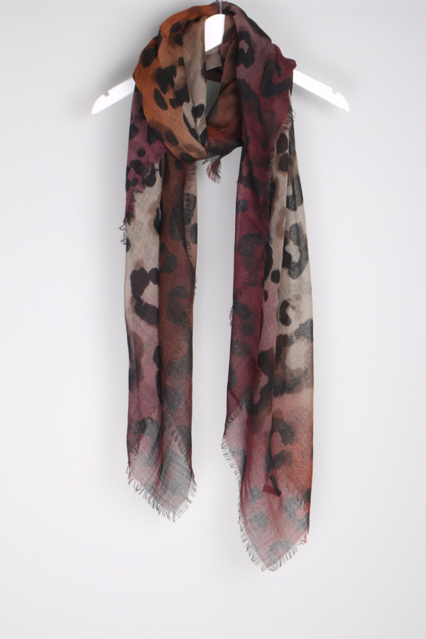 Franco Ferrari Evans Wash Scarf Animal Plum