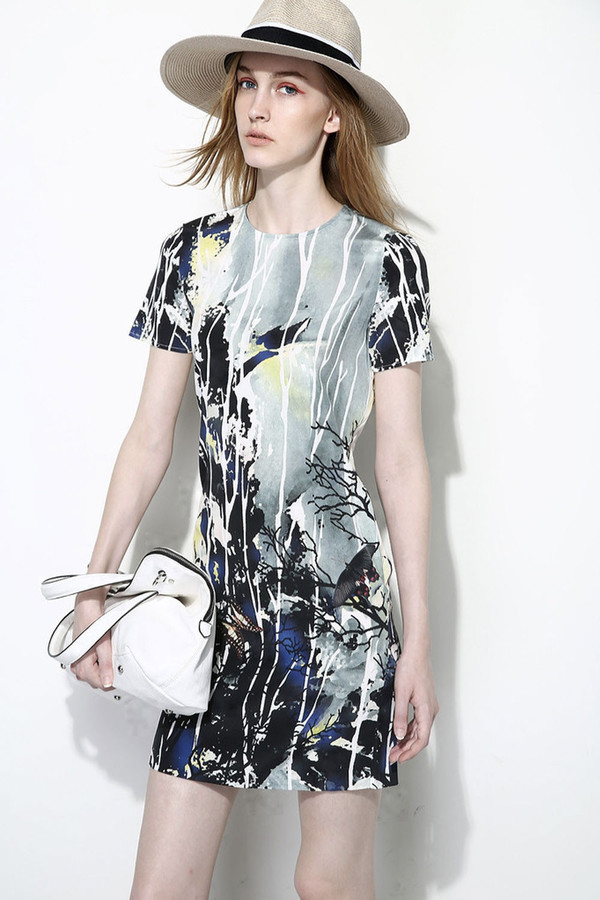 Few Moda Silk Ink Mountain Print Dress
