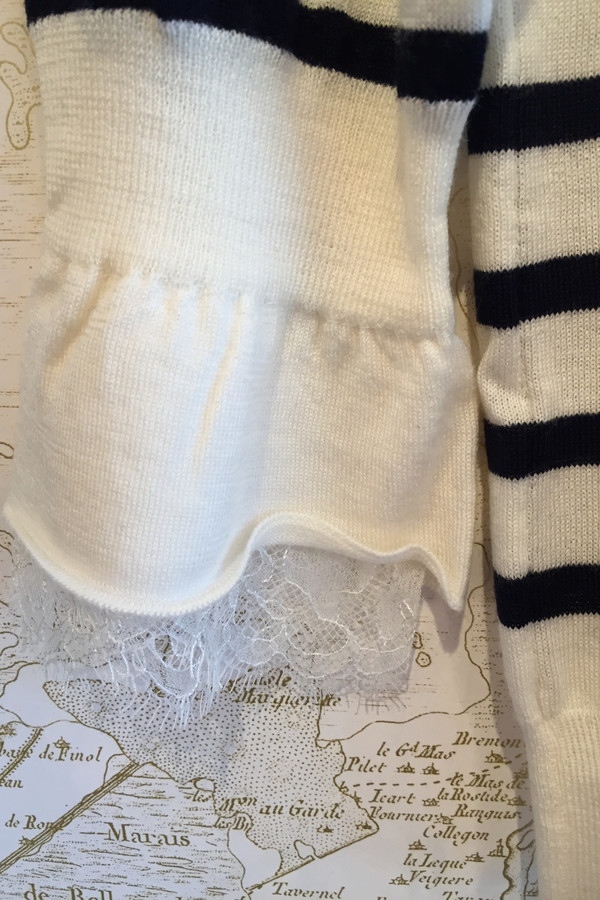 Leur Logette Striped Lace Turtleneck
