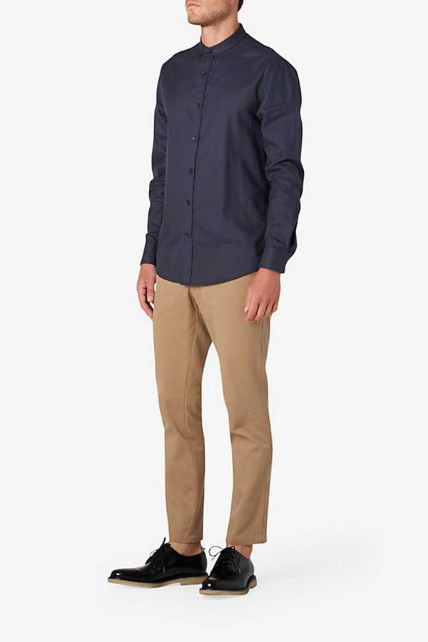 Men's Steven Alan Band Collar Shirt I Navy
