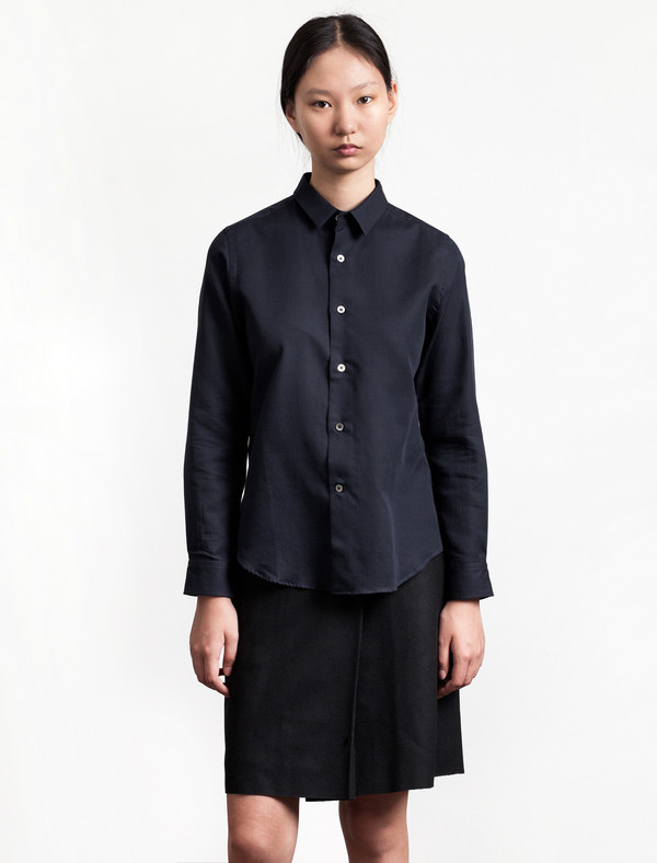 Niuhans Womens Double Cloth Shirt Navy