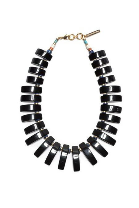 LIZZIE FORTUNATO BLACK TILE NECKLACE