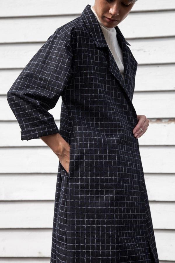 Jesse Kamm Trench Coat | black windowpane