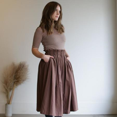 wrk-shp Long Draft Skirt - Cocoa Brown
