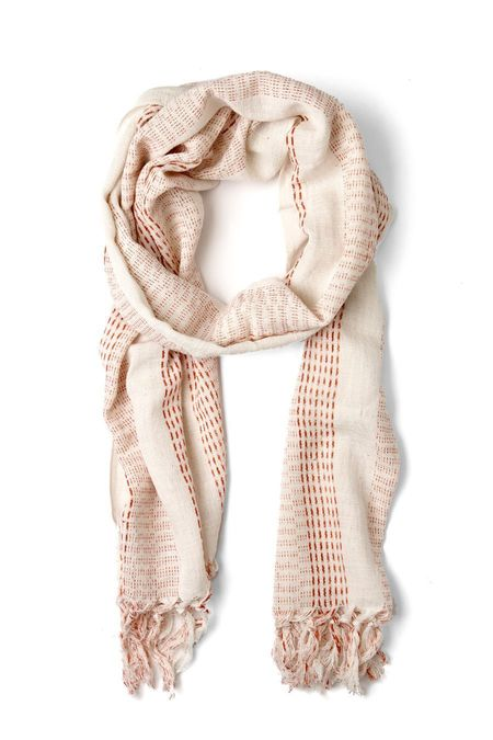 Kiriko Karu-Ori Cream/Red Stripe Scarf