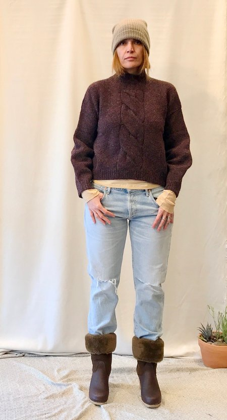 Micaela Greg Twist Cable Pull Over in Melange Grey and Burgundy