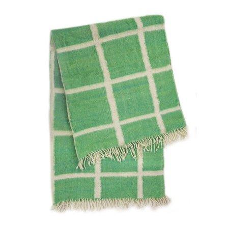 Archive New York Momos Grid Blanket-Rug - Natural White/Green
