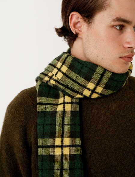 Our Legacy Scarf - Boucle Check Citron/Grass