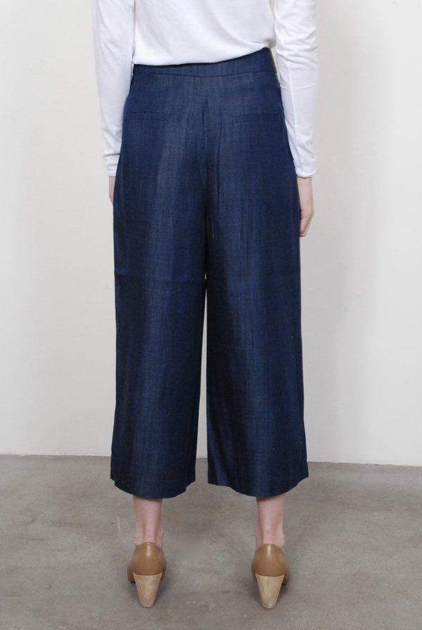 Tibi Indigo Drape Cropped Pleat Pants