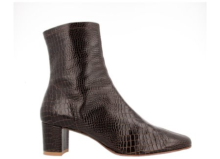 By Far Shoes Sofia - Brown Croco Embossed Leather