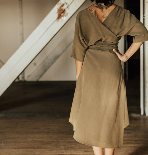 Hackwith Design House Reversible Wrap Dress - Olive