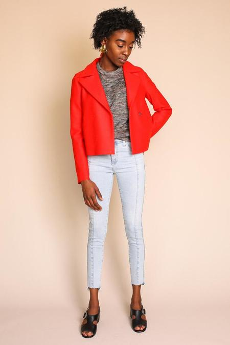 Harris Wharf London Cropped Peacoat Light Wool in Lipstick