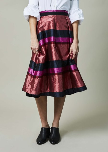 Odeeh A-Line Stripe Pleated Skirt