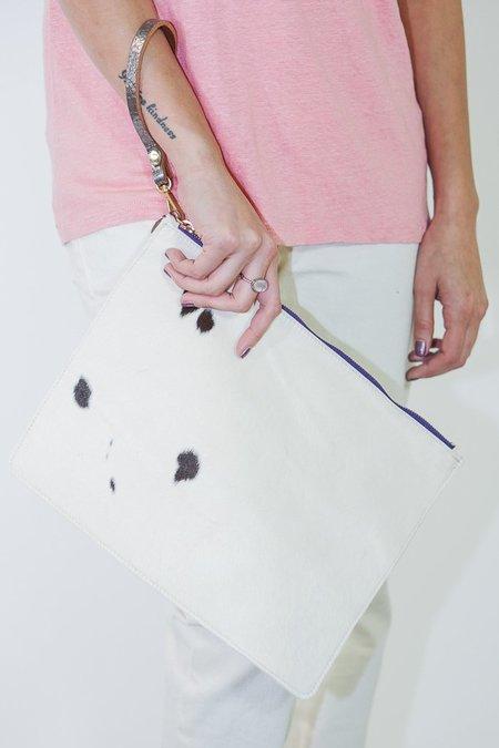 Garayalde Large Z Bag White Hair On with Purple Zipper