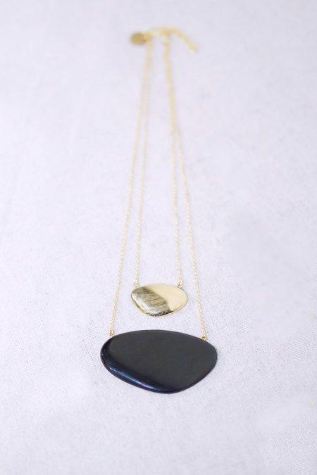 Soko Layered Sabi Necklace with Black Pendent