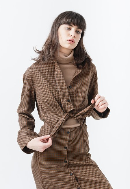 Outstanding Ordinary Tie Waist Check Dress - brown