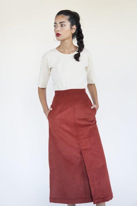 Sunja Link Corduroy Kick Pleat Skirt - Rust