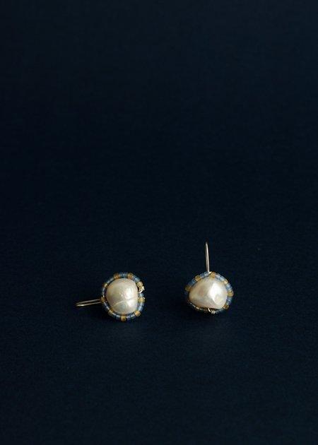 Zelda Murray pearl earrings - frosted blue + honey