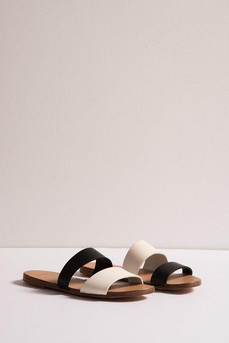 Asymmetrical Sandal in Black/White