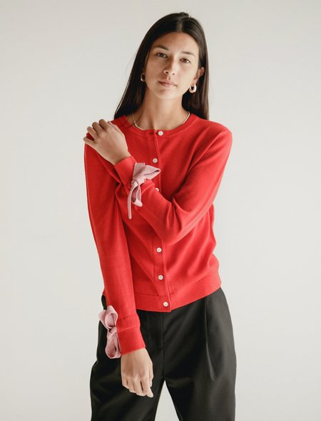 Shrimps  Lorna Cardigan - Red with Pink Ties