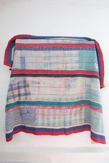 Karu Vintage Kantha Quilt with Red Stripes