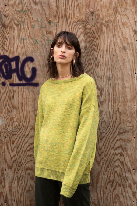 Andersson Bell Tartan Mohair Boat Neck Sweater - Yellow