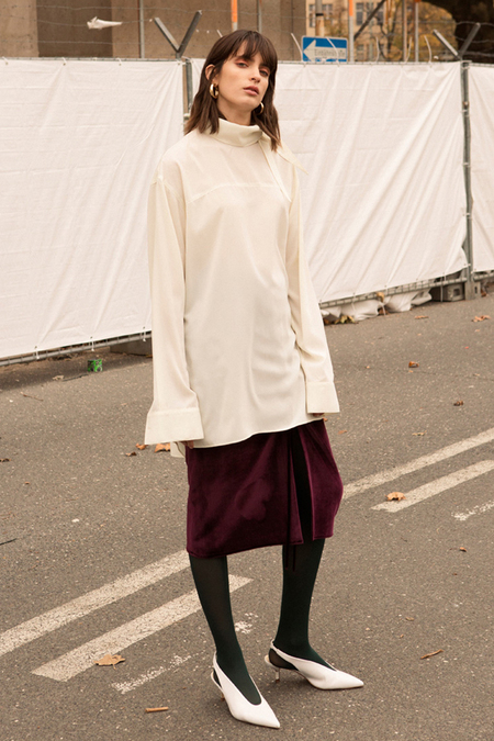 Andersson Bell High Neck Long Blouse - White