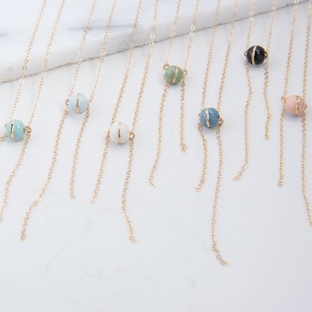 Amber E Lea Comet Necklace - Blue/White Marble