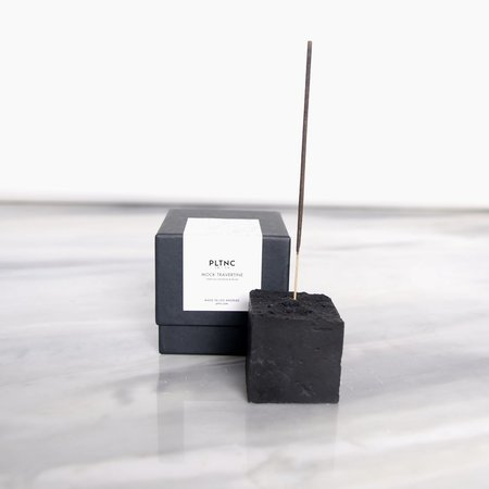 PLTNC Mock Travertine Incense Holder - black