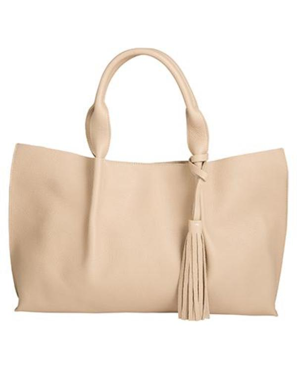 Isabel tote in sand pebble leather with leather tassel