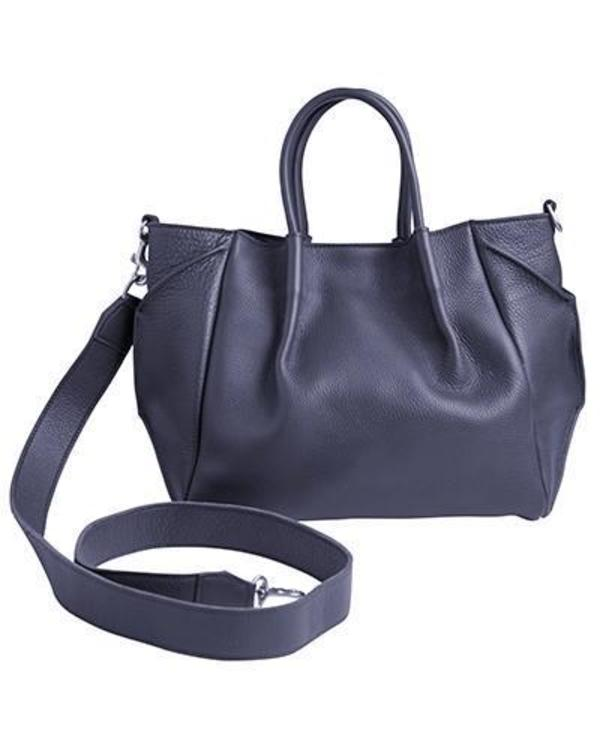zoe lined tote in navy pebble cow leather wide cross body strap