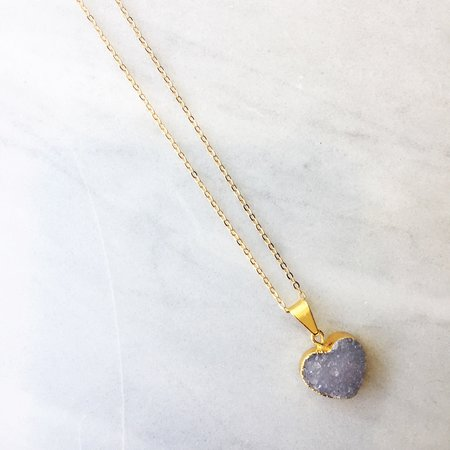 White Elephant Look Ma - Heart Druzy Necklace