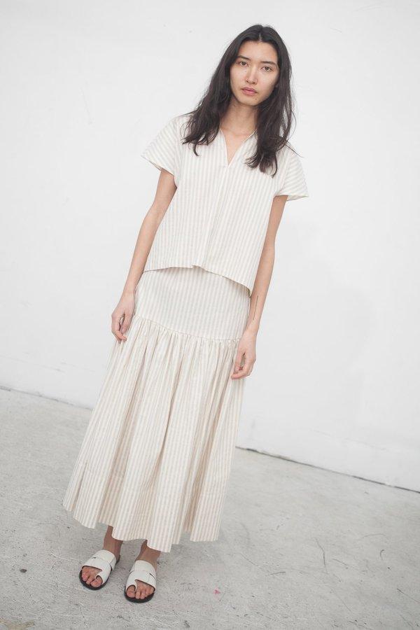 Creatures of Comfort Mailer Skirt in Striped Cotton Linen Sand