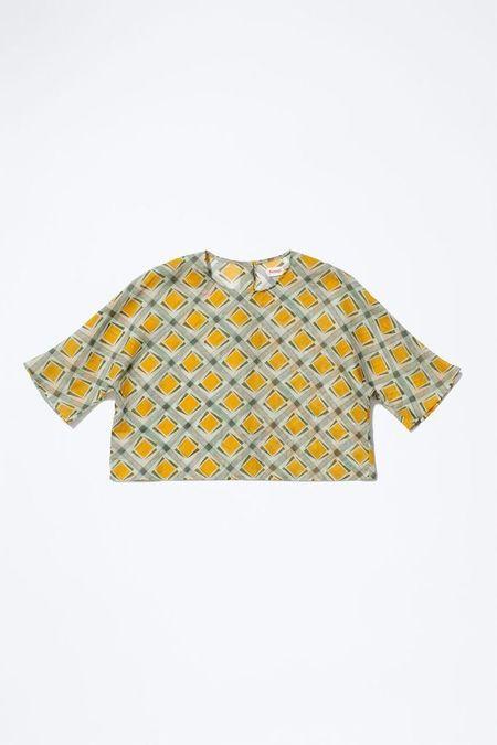 Samuji CHOKO Shirt in White, Yellow, Green and Light Pink Print