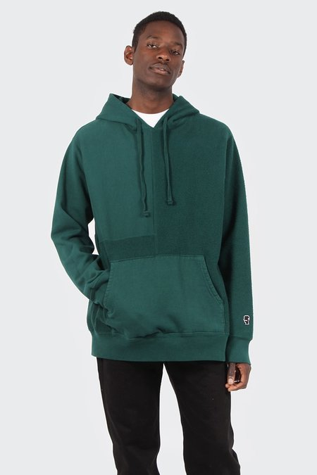 Brain Dead Panelled Hoodie Sweatshirt - Forest