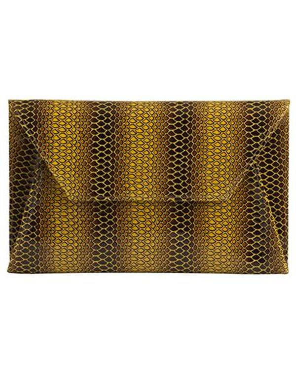 Oliveve Cleo Envelope Clutch In Yellow Cobra Cow Leather
