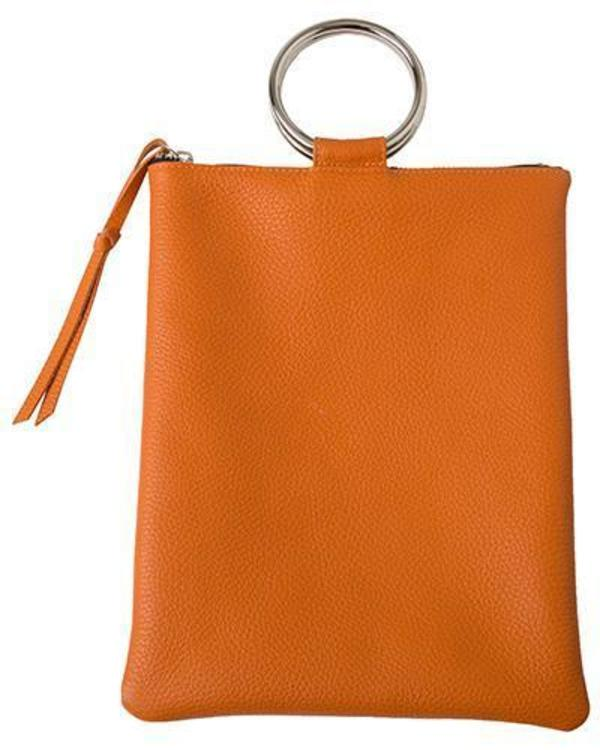 Oliveve Laine Silver Ring Bag In Papaya Pebbled Leather