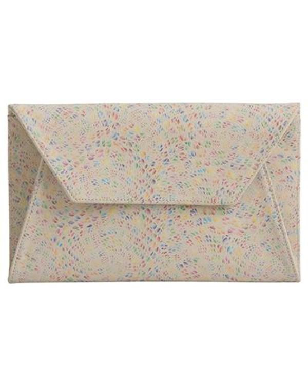 Oliveve Cleo Envelope Clutch in Confetti Cow Suede