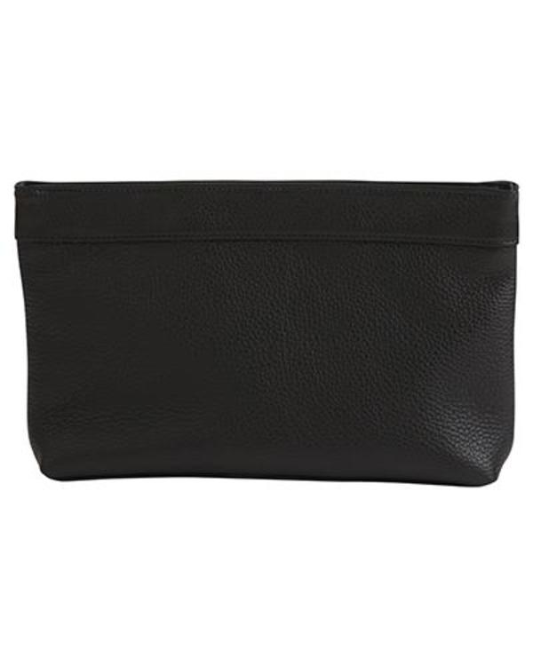 Oliveve Lola Frame Clutch in Black Pebbled Cow Leather