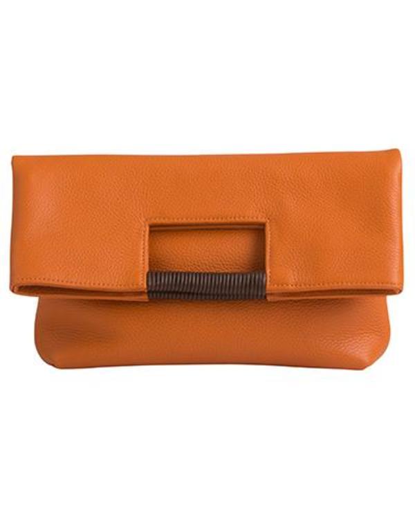 Oliveve Reid Wrap Handle Tote In Papaya Pebble Leather