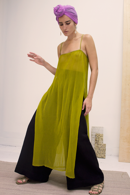 Ajaie Alaie See Through Me Tunic in Pleated Poly In Apple