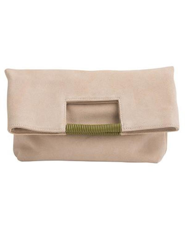 Oliveve Reid Wrap Handle Tote in Sand Suede