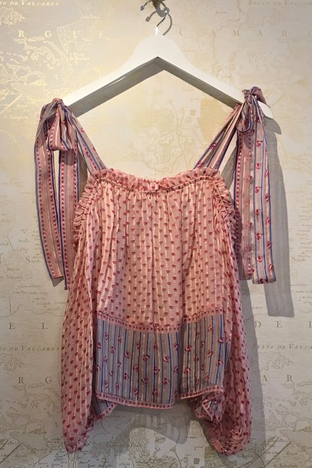Ulla Johnson Clement Silk Print Open Shoulder Blouse