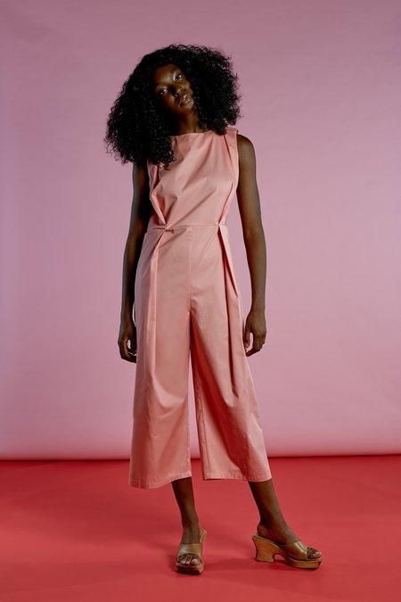 Wolcott : Takemoto Bushi Jumpsuit in Pink Cotton Twill
