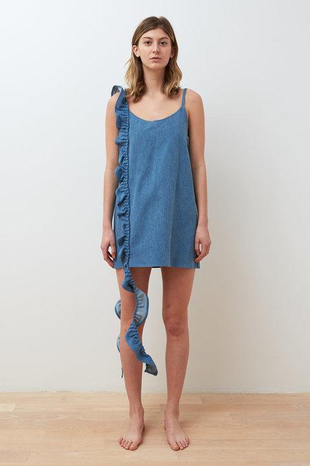 Collina Strada Slacker Ruffle Dress - Light Denim
