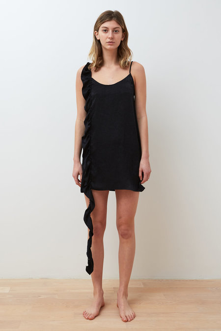Collina Strada Slacker Ruffle Dress - Black Satin